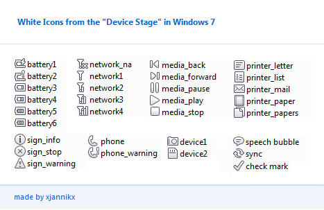 Windows 7 device stage icons