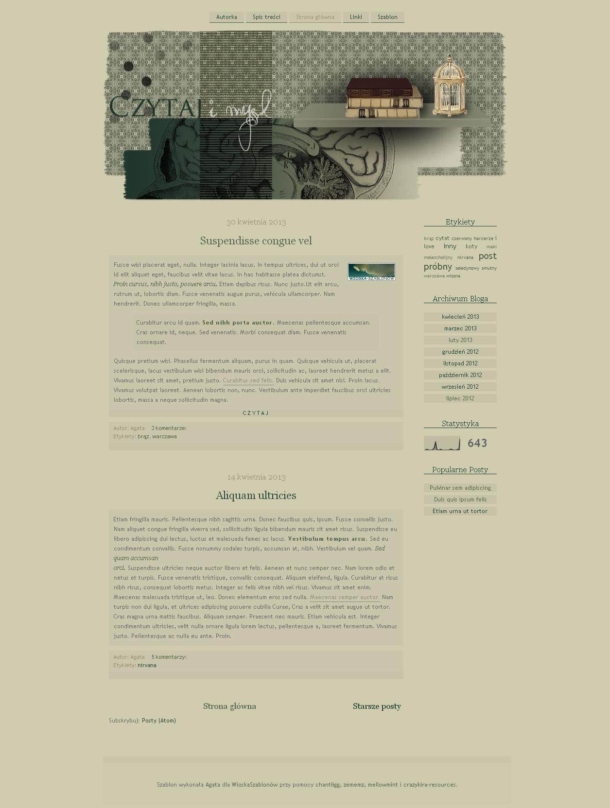 Blogspot template Czytaj i myl v2.0 by stupid-owl