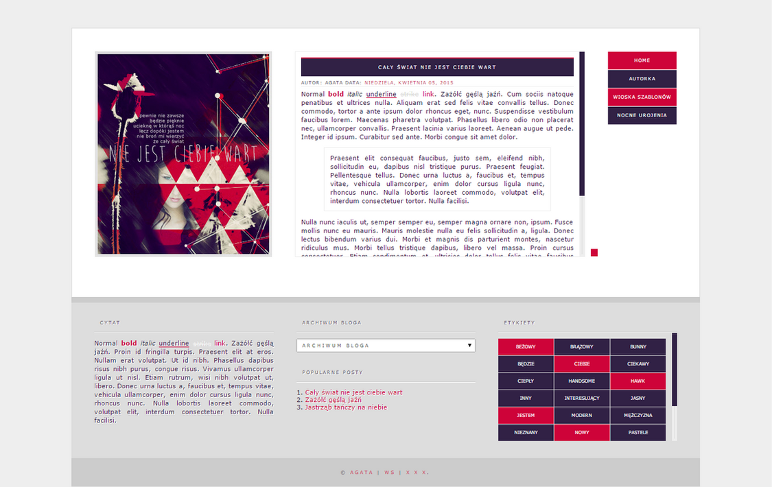 Blogspot template Caly swiat by stupid-owl