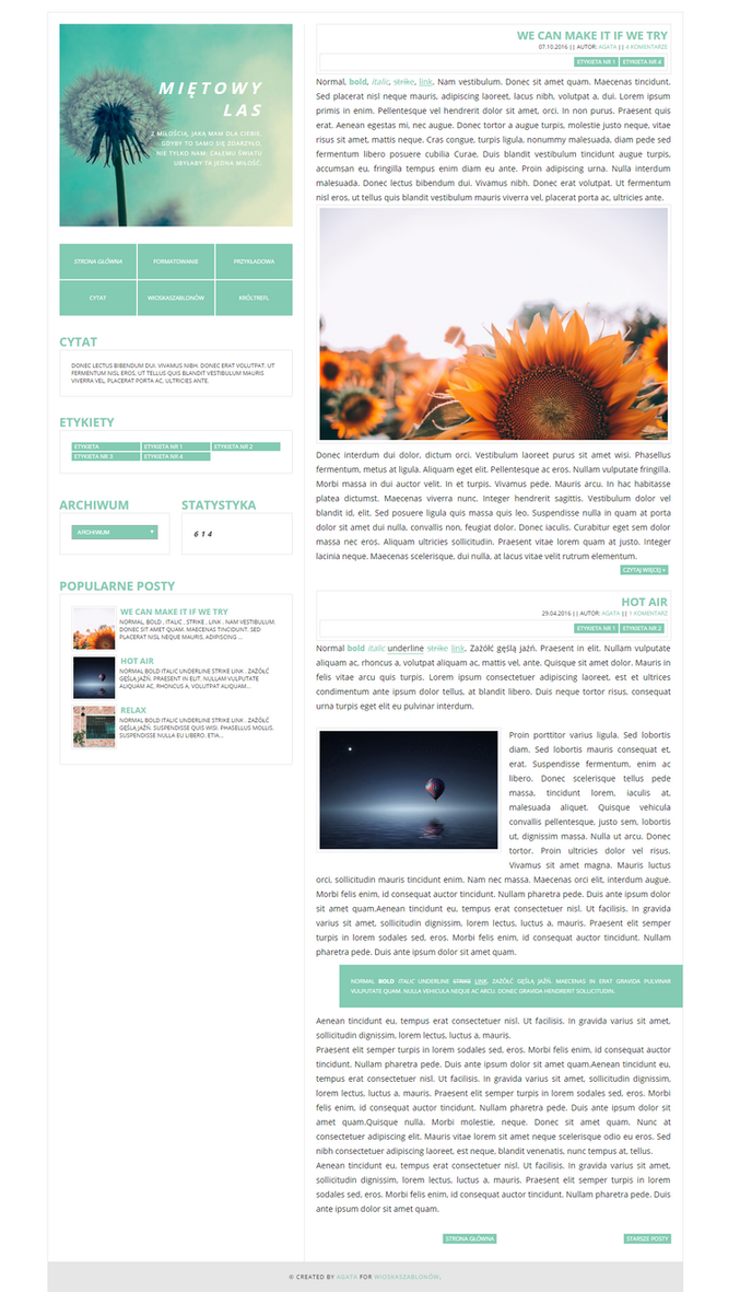 FREE Blogger template Mietowy by stupid-owl on DeviantArt