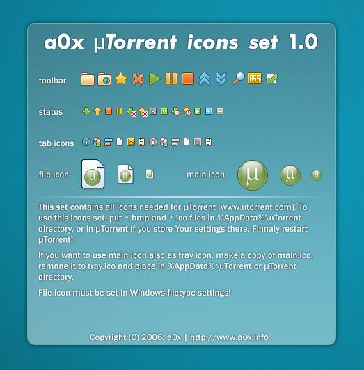 a0x uTorrent icons set 1.0
