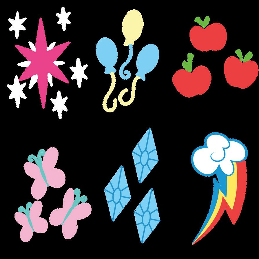 Mane 6 Cutie Marks (Update 4) by Yanoda