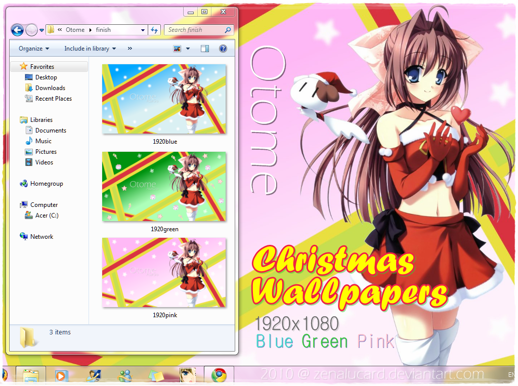 Otome Xmas Wallpaper Pack 2010 by zenalucard