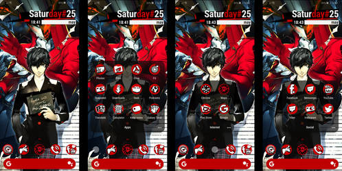Persona 5 Android Theme - Icons and Widget (clock)