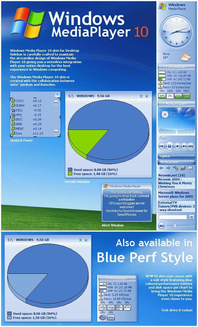 wmp10 for desktop sidebar by antu