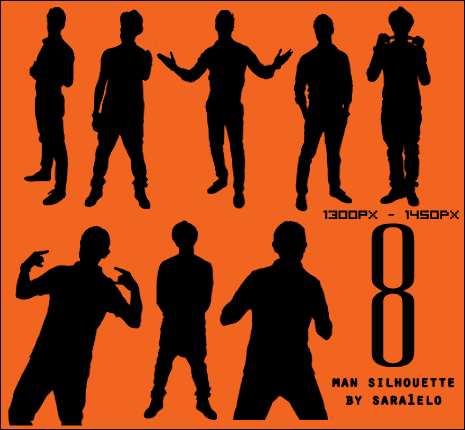 8 Male Silhouettes