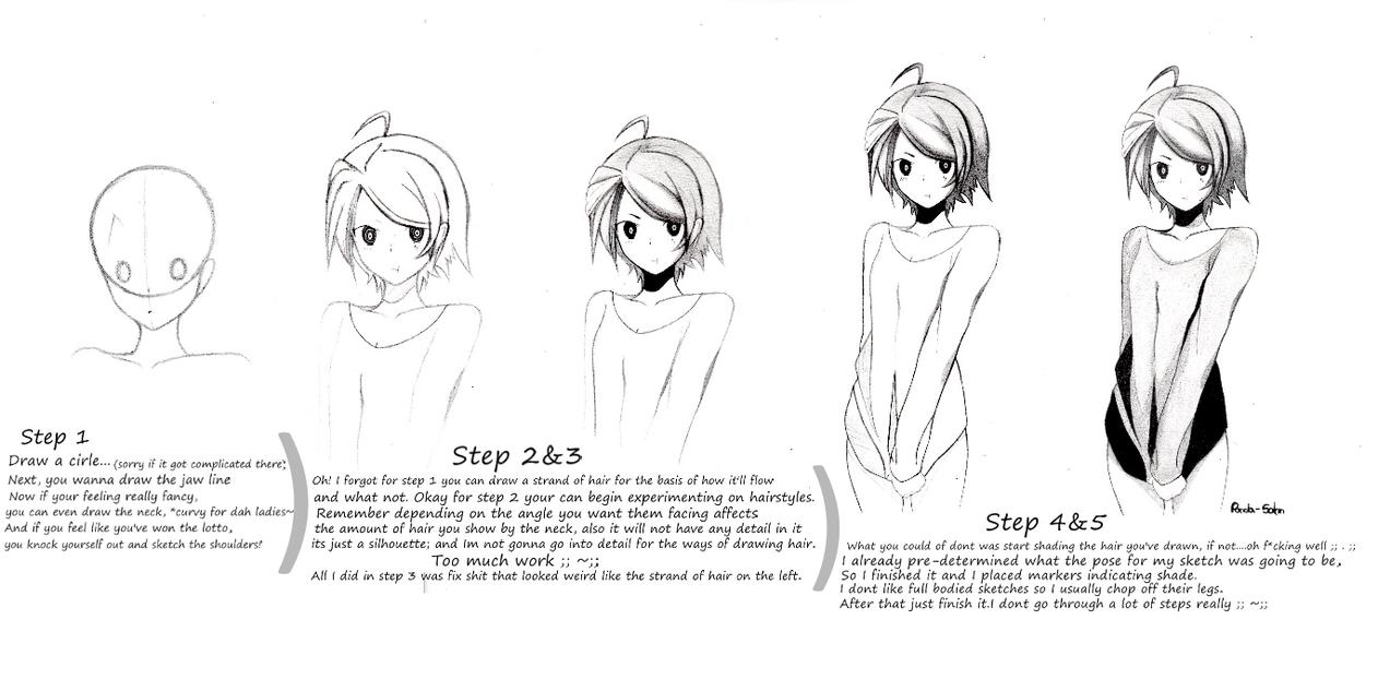 Anime girl step by step by panda sahn