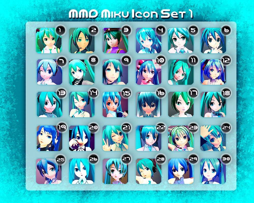 MMD Miku Icon Set 1 by Xoriu