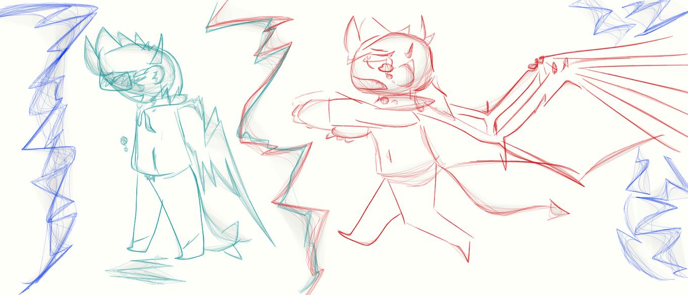 Kilexy and Kili Sketch (so bored :/ ) by Toxic552