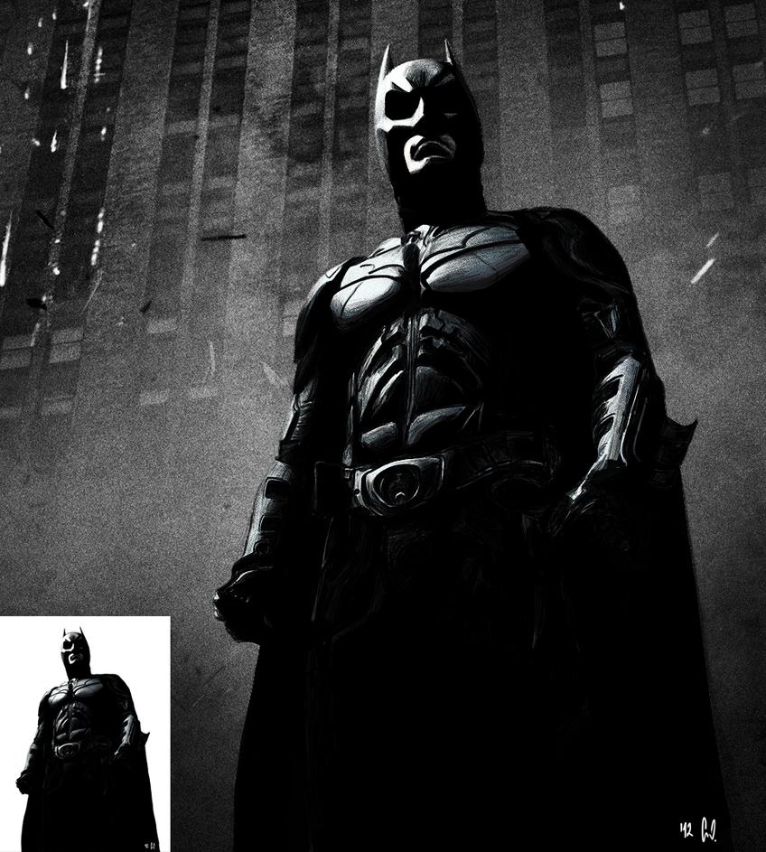 Dark Knight Drawing HD w/ wall by Lewks