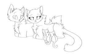 Queen and Kits F2U Lineart by Angelpaw33