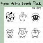 6 Cartoon Farm Animal Brushes