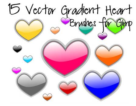 15 Vector Gradient Heart Brushes