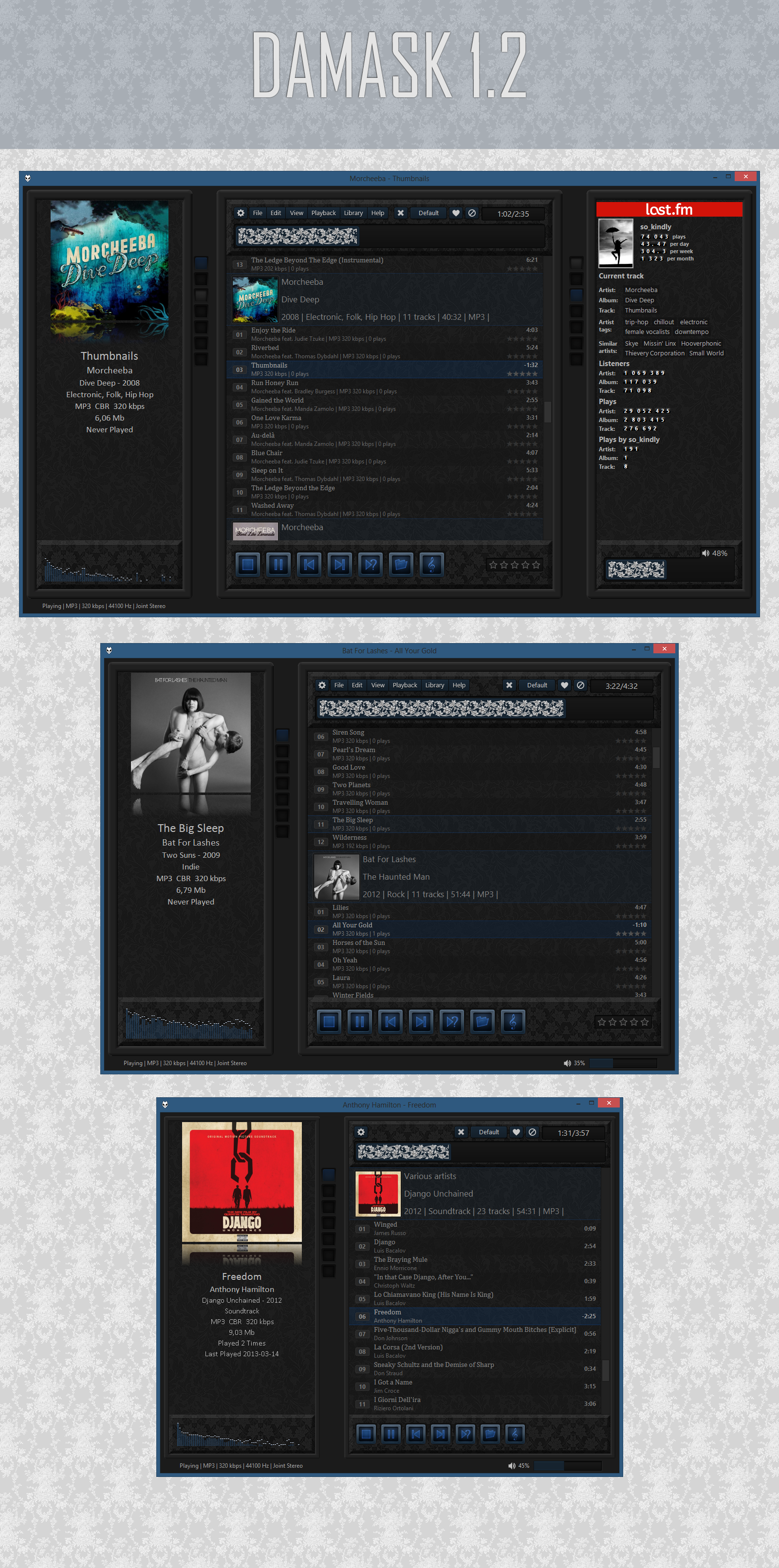 foobar2000 Damask 1.2 by so-kindly