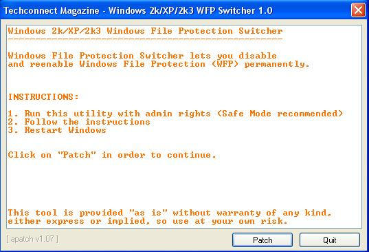 Windows File Protection Wfp Patcher Switcher Locomotives