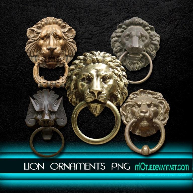Lion ornament doorknobs png