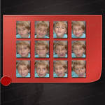 Set of 12 images of a boy with expressive faces