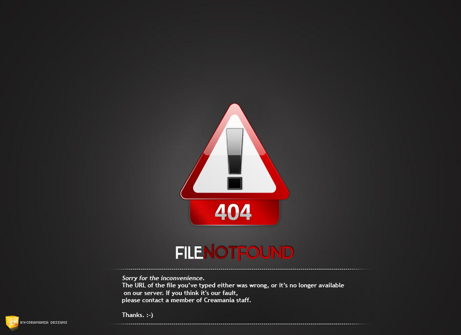 404 File Not Found Page by Creamania