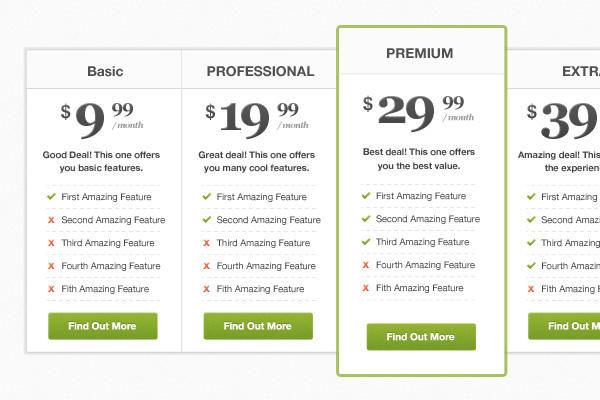 Pricing Table PSD Freebie by bestpsdfreebies