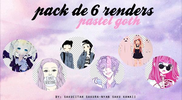 Pack de 6 Renders: Pastel Goth by sakucitah