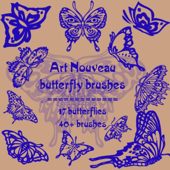 art nouveau butterflies by rL-Brushes