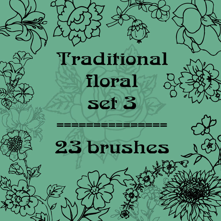 Traditional floral 3 by rL-Brushes