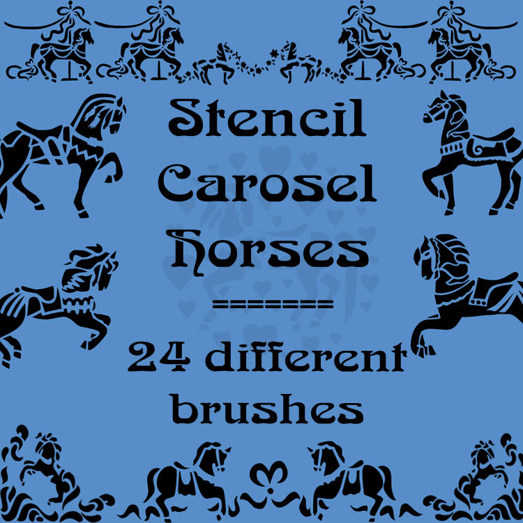 Stencil Carosel Horses by rL-Brushes