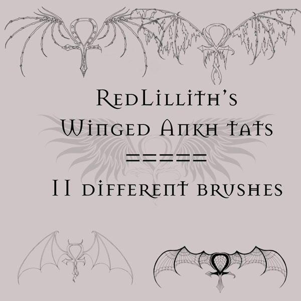 RedLillith's Winged Ankh tats by rL-Brushes