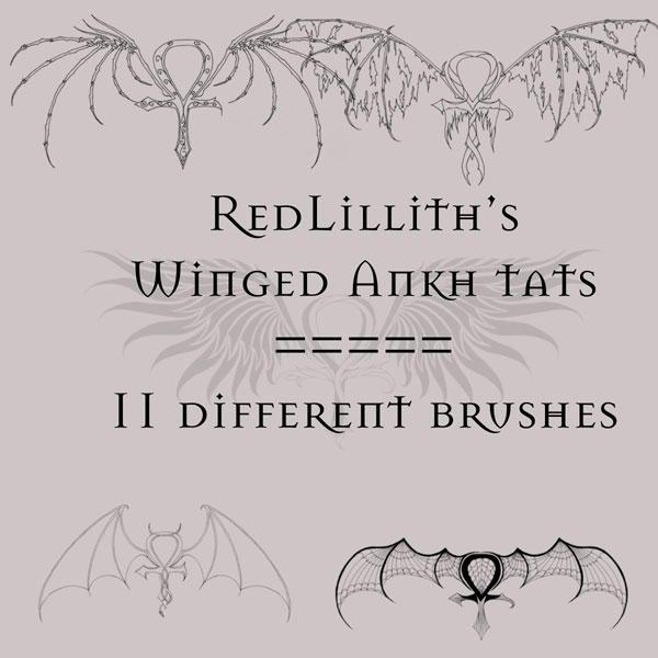 RedLillith's Winged Ankh tats by rL-Brushes