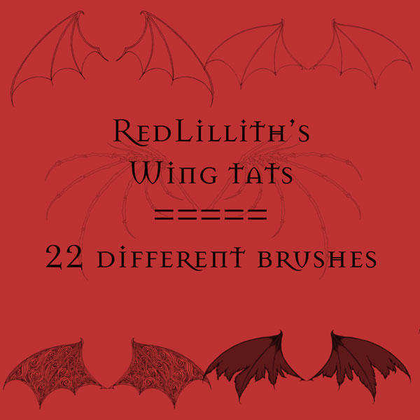 RedLillith's Wing tats set 1 by rL-Brushes
