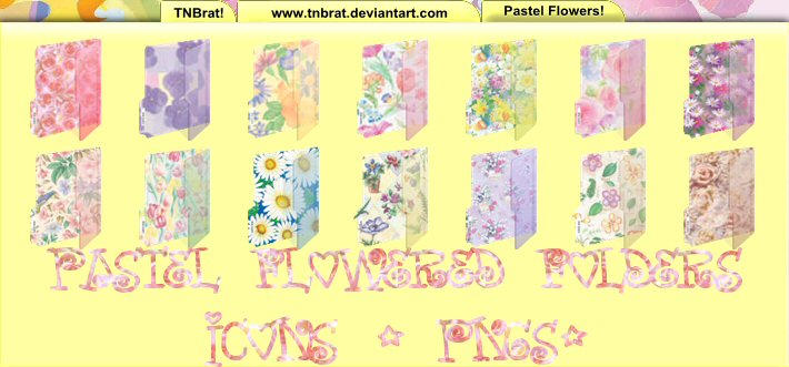 Pastel Flowered Folders by TNBrat