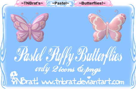 Pastel Puffy Butterflies by TNBrat