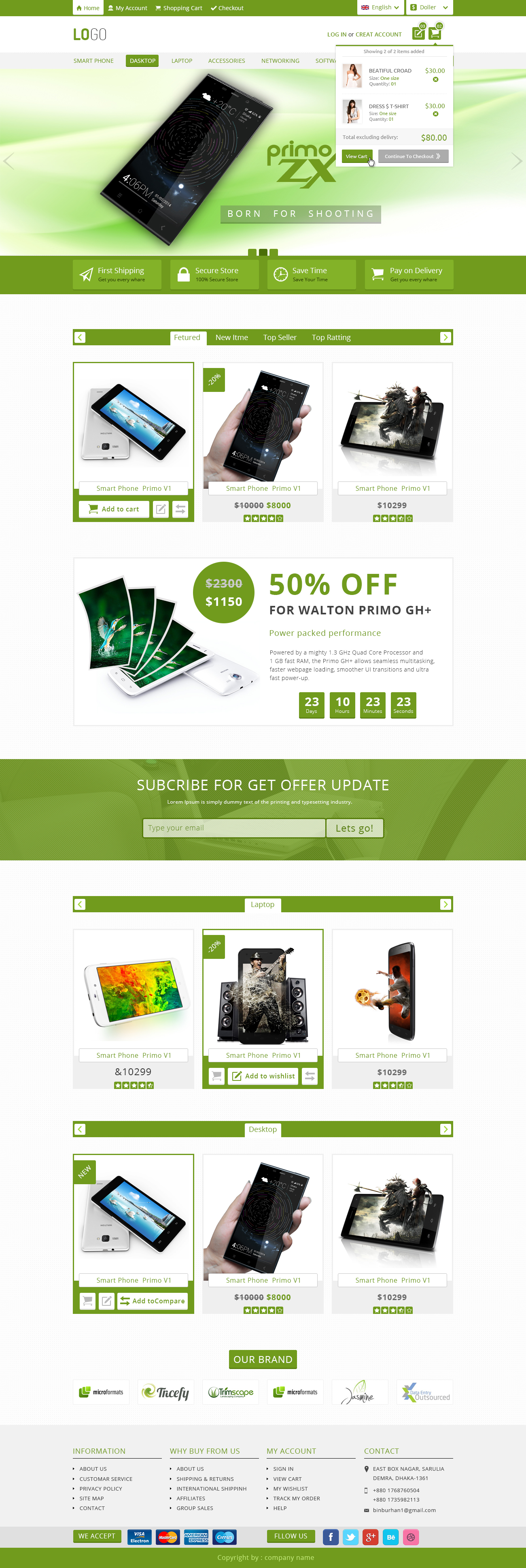 Free Ecommerce PSD template Download