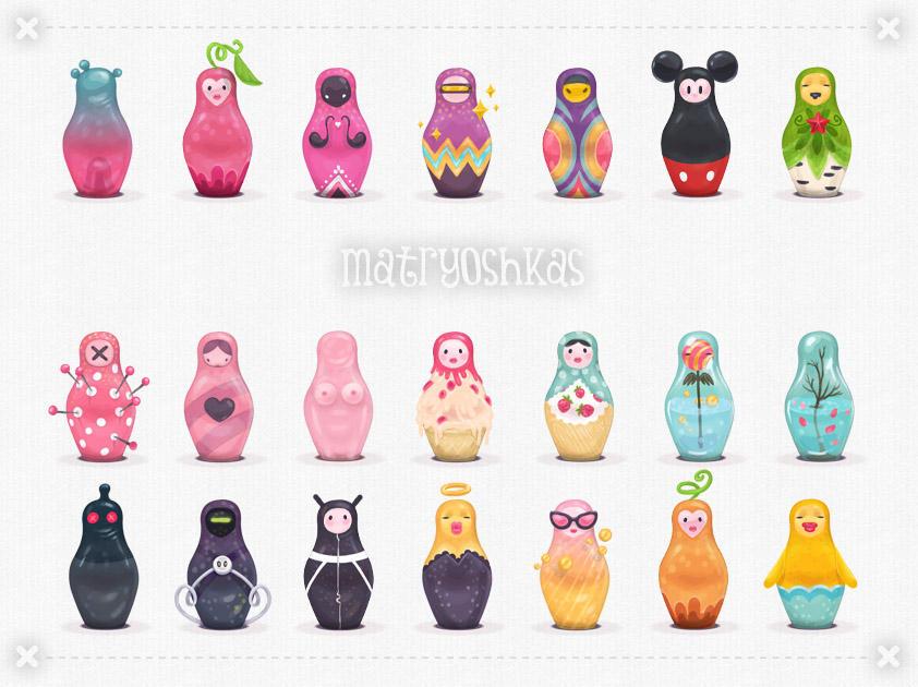 Matryoshkas - 21 iconos de Matryoshkas