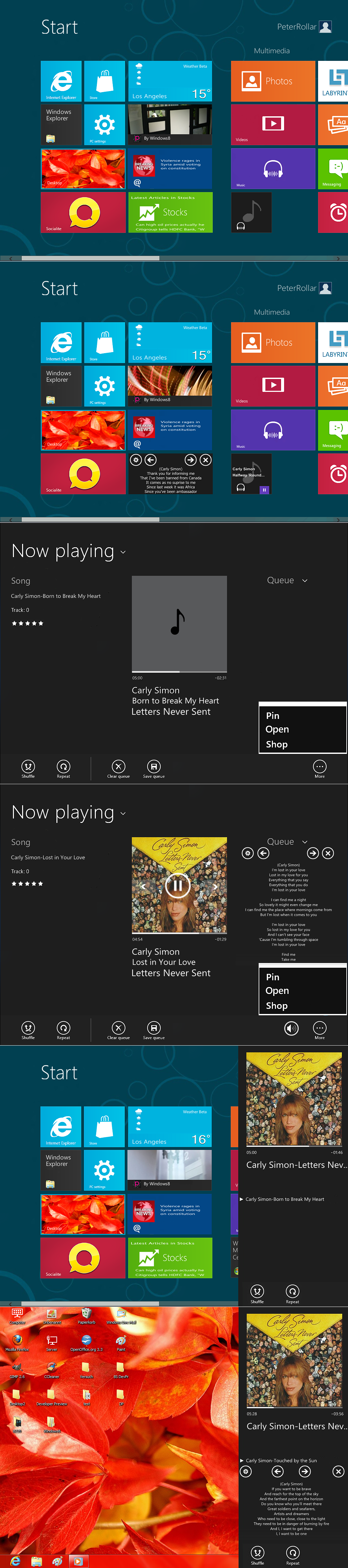 Windows 8 music player beta by PeterRollar