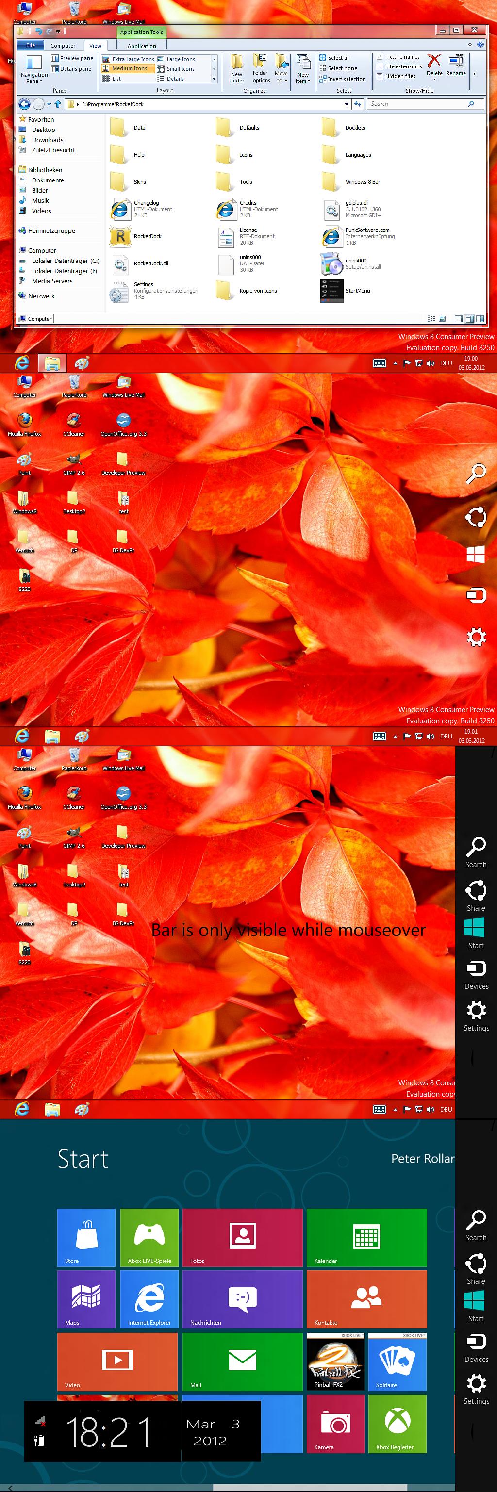 Win8 Consumer preview charmsbar for XP Vista Win7