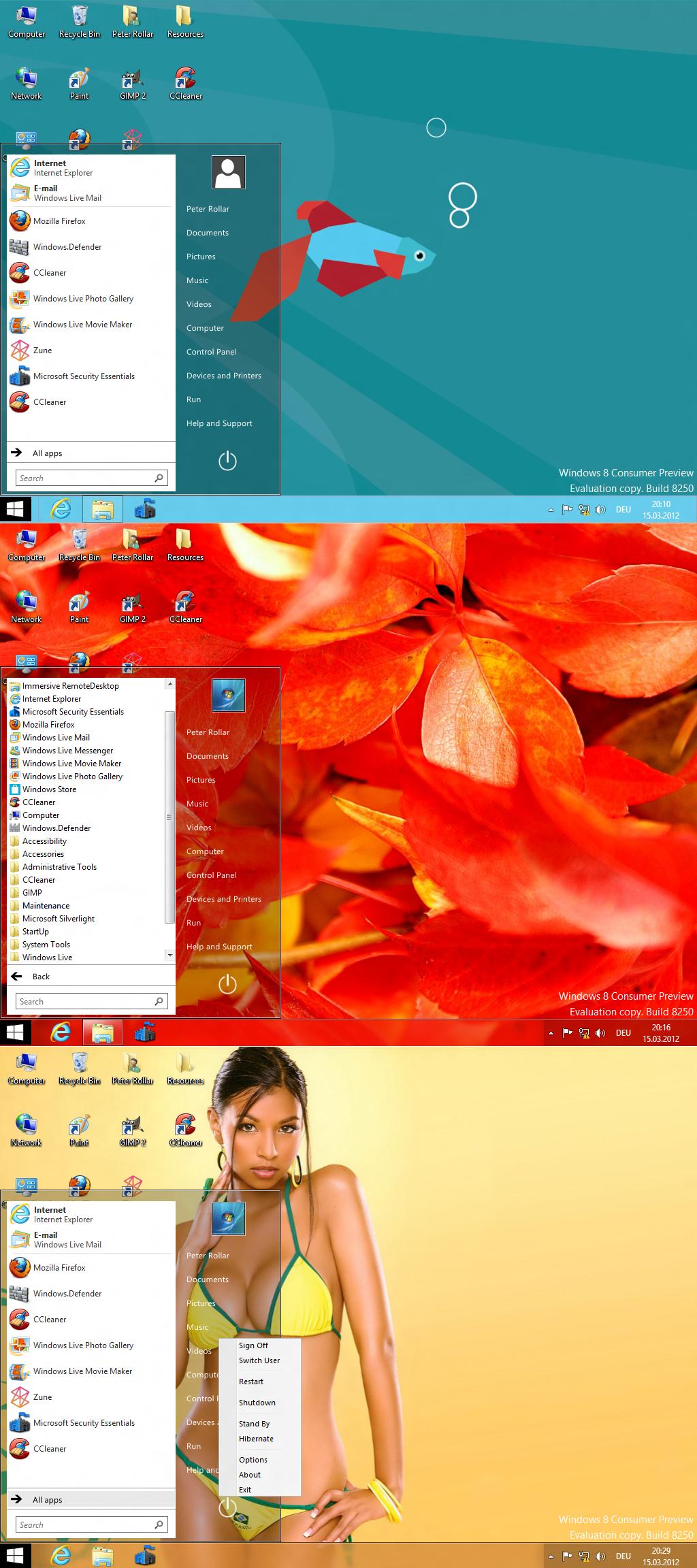 Startmenu for Windows8 Consumer Preview
