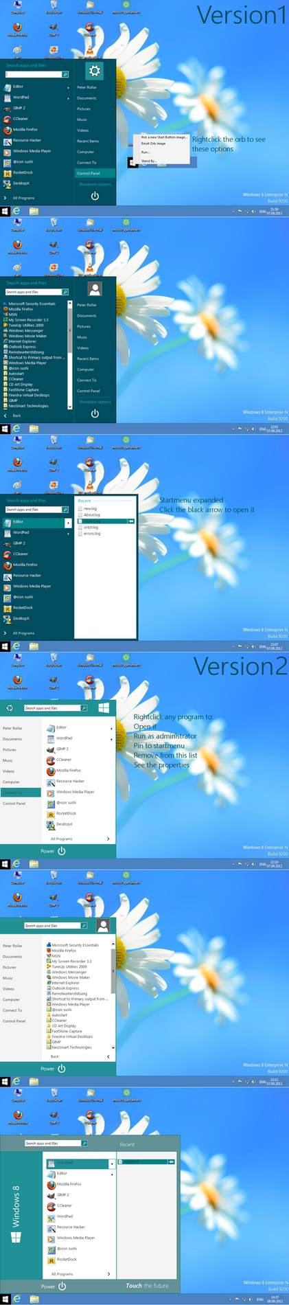 Windows8 startmenu replacement for all OS by PeterRollar