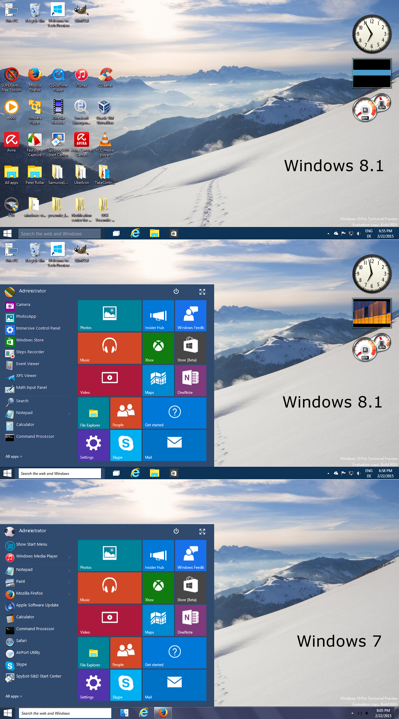 Windows10 Tech Preview Startmenu for all Windows by
