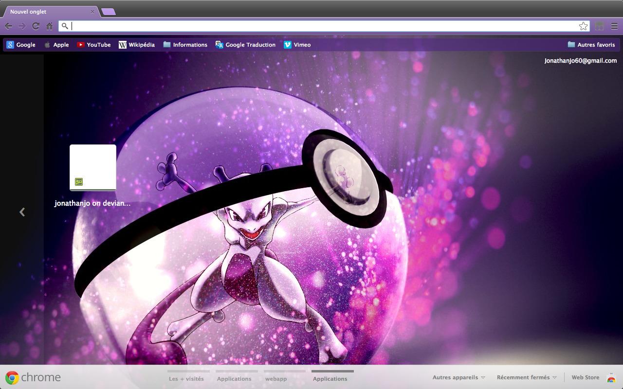 Chrome/Firefox theme - Mewtwo into a Pokeball by Jonathanjo