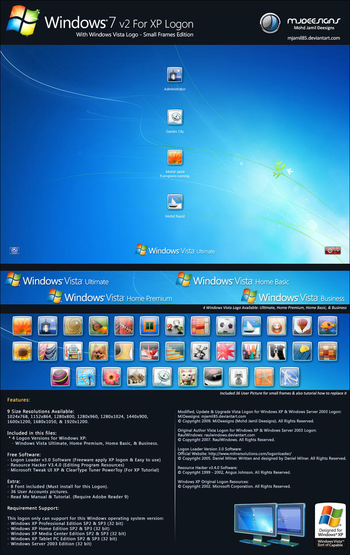 Win7 v2 for XP Logon: Vista-S by mjamil85