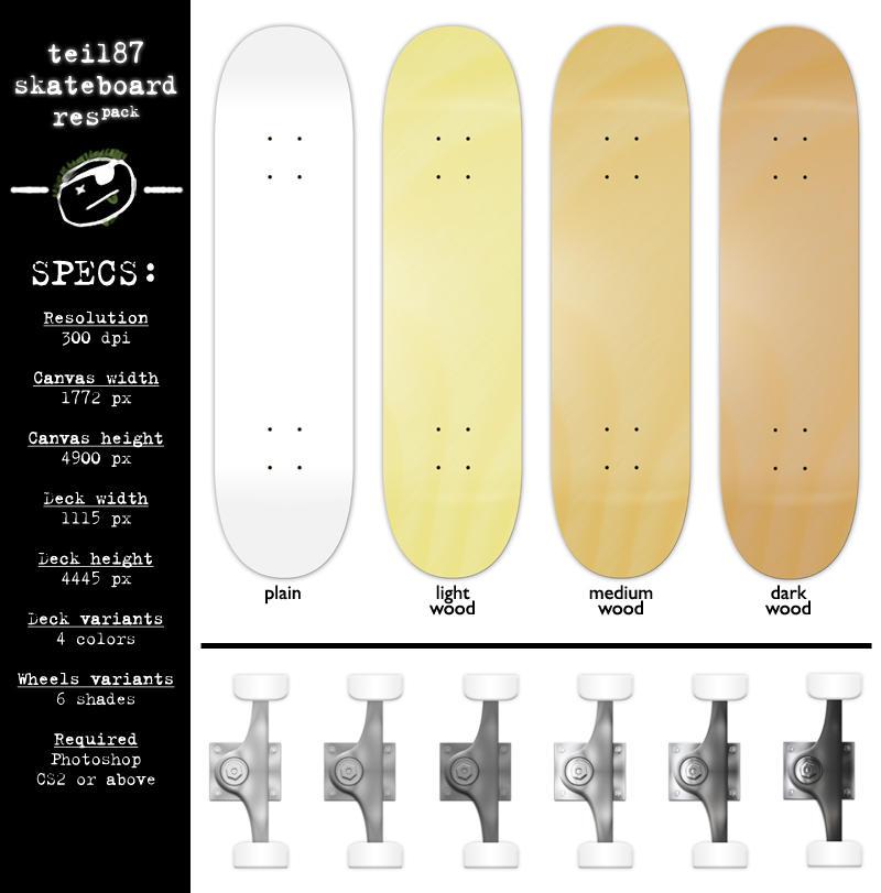 Skateboard Template Psd - klejonka