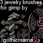 3 jewely brushes for gimp by Gothicmamas-stock