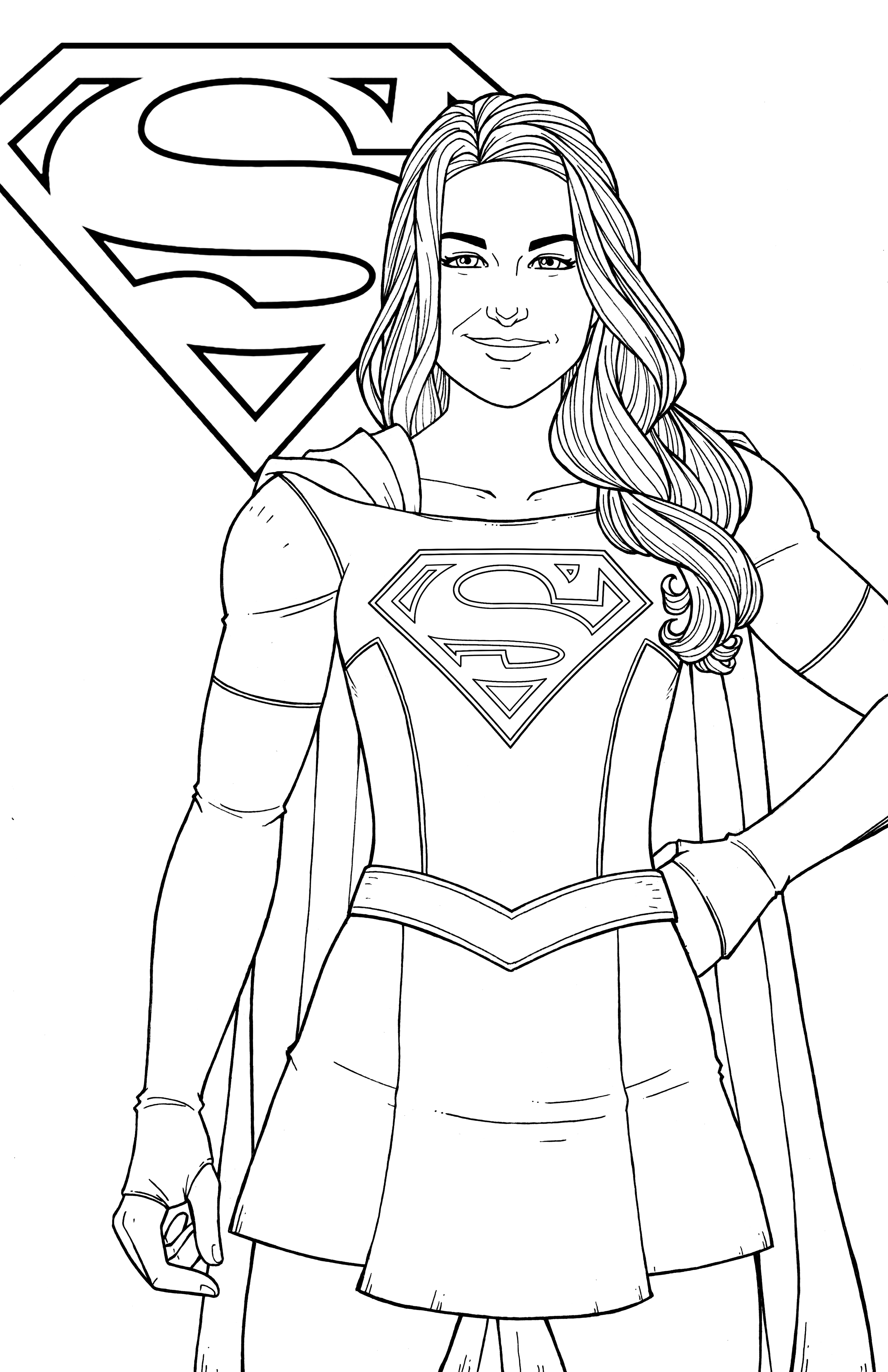 This is a graphic of Versatile Super Girl Coloring Pages