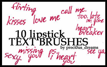 10 Lipstick Text Brushes by preci0us-dreams