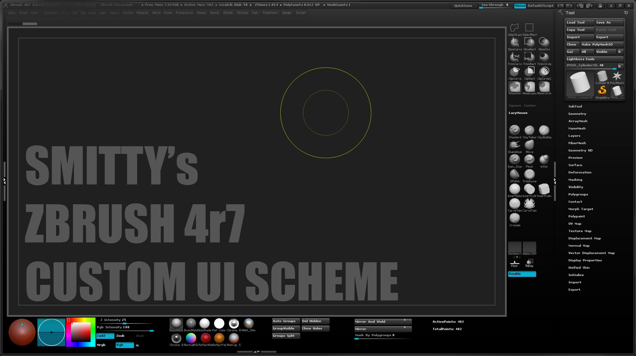 Smitty's Custom ZBrush 4r7 UI by Art-by-Smitty on DeviantArt