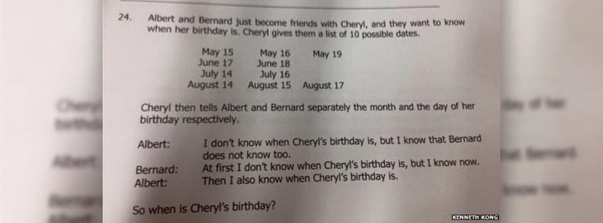 Cheryl's Birthday Puzzle by Mathemagic