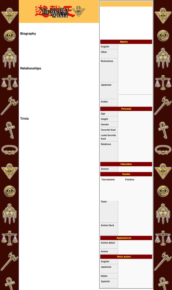 Yugioh Bio Profile Template by yeidenex