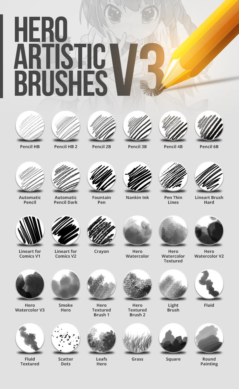 Hero Artistic Brushes Photoshop V3