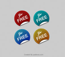 4 Free PSD Simple Stickers Templates by muhiza